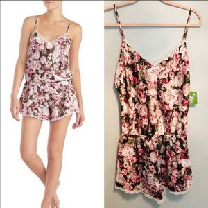 kate spade floral charmeuse lace trim romper